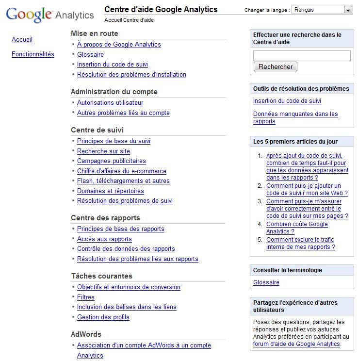 Centre d'aide Google Analytics